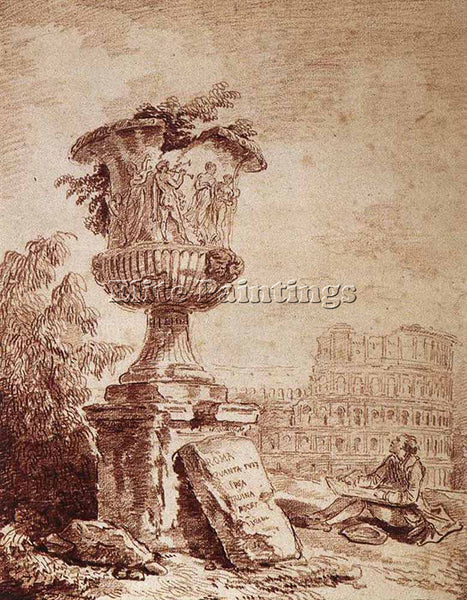 HUBERT ROBERT THE DRAUGHTSMAN OF THE BORGHESE VASE ARTIST PAINTING REPRODUCTION