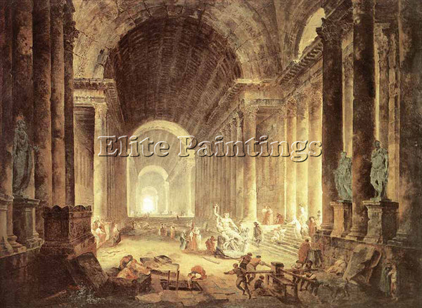 HUBERT ROBERT THE FINDING OF THE LAOKOON ARTIST PAINTING REPRODUCTION HANDMADE
