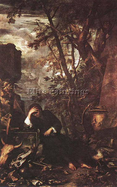 SALVATOR ROSA DEMOCRITUS IN MEDITATION ARTIST PAINTING REPRODUCTION HANDMADE OIL
