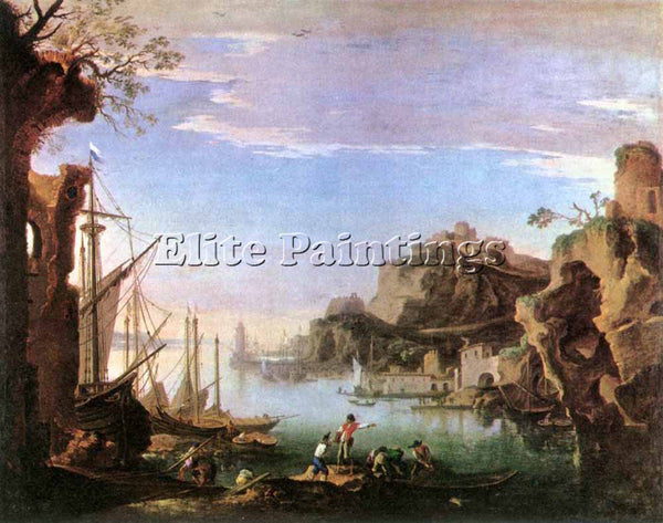 SALVATOR ROSA HARBOUR WITH RUINS ARTIST PAINTING REPRODUCTION HANDMADE OIL REPRO