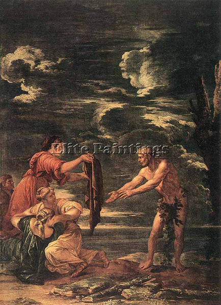 SALVATOR ROSA ODYSSEUS AND NAUSICAA ARTIST PAINTING REPRODUCTION HANDMADE OIL