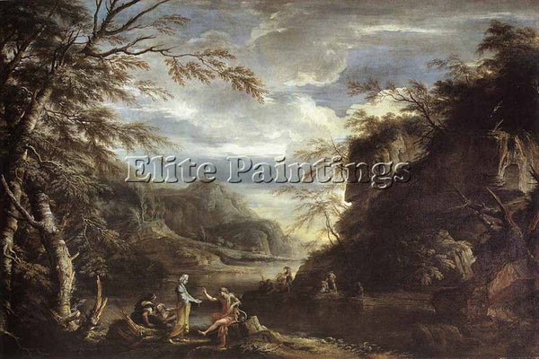 SALVATOR ROSA RIVER LANDSCAPE WITH APOLLO AND THE CUMEAN SIBYL PAINTING HANDMADE