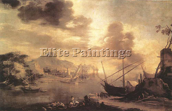SALVATOR ROSA VIEW OF THE GULF OF SALERNO ARTIST PAINTING REPRODUCTION HANDMADE