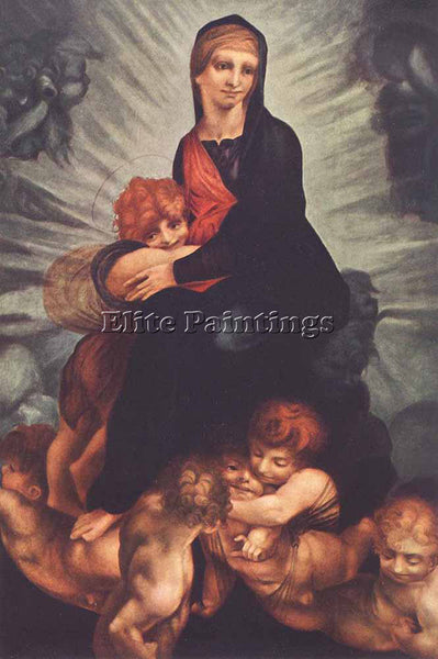 ROSSO FIORENTINO MADONNA AND CHILD WITH PUTTI ARTIST PAINTING REPRODUCTION OIL