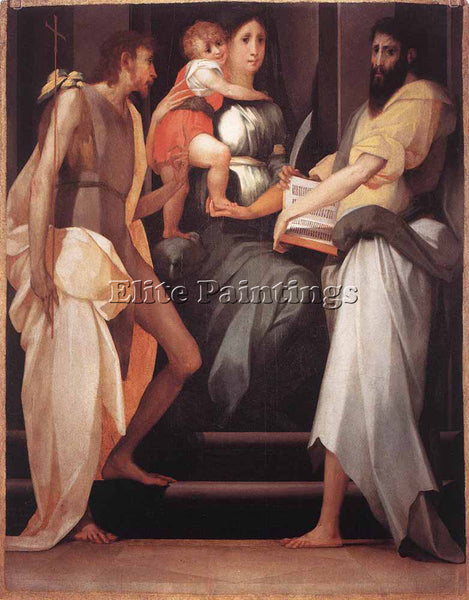 ROSSO FIORENTINO MADONNA ENTHRONED BETWEEN TWO SAINTS ARTIST PAINTING HANDMADE