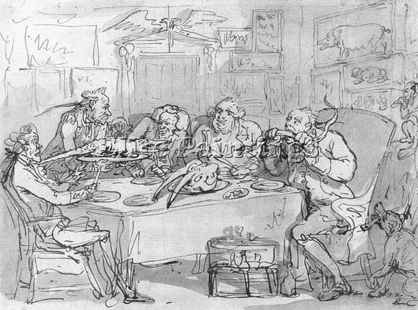 THOMAS ROWLANDSON THE FISH DINNER ARTIST PAINTING REPRODUCTION HANDMADE OIL DECO