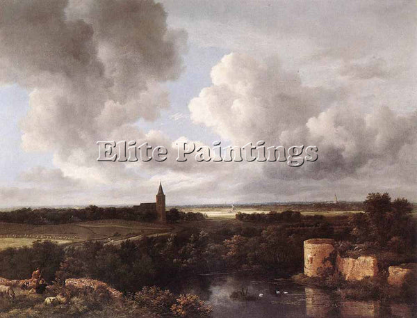 RUISDAEL AN EXTENSIVE LANDSCAPE WITH RUINED CASTLE AND VILLAGE CHURCH ARTIST OIL