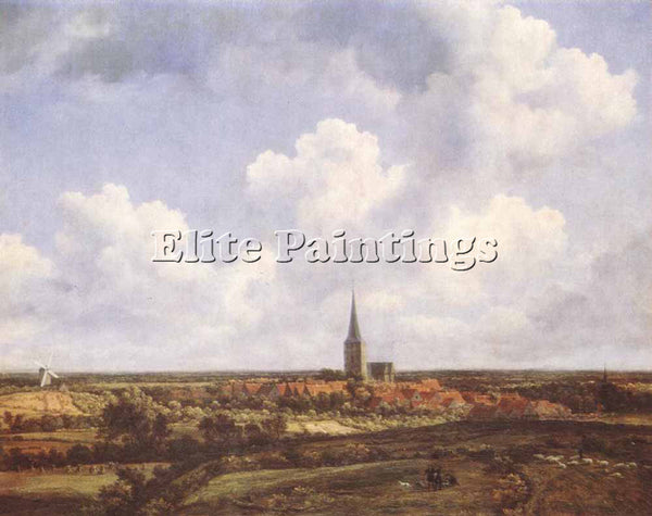 JACOB VAN RUISDAEL LANDSCAPE WITH CHURCH AND VILLAGE ARTIST PAINTING HANDMADE