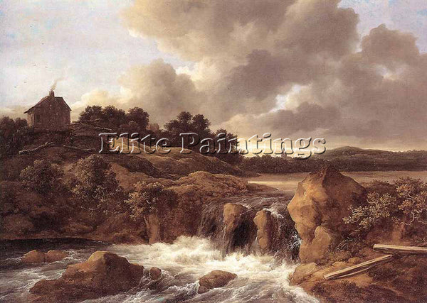 JACOB VAN RUISDAEL LANDSCAPE WITH WATERFALL ARTIST PAINTING HANDMADE OIL CANVAS