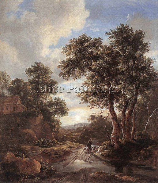 JACOB VAN RUISDAEL SUNRISE IN A WOOD ARTIST PAINTING REPRODUCTION HANDMADE OIL