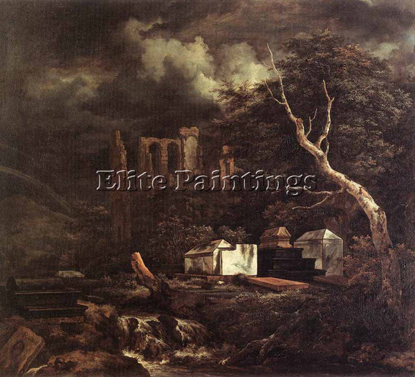 JACOB VAN RUISDAEL THE JEWISH CEMETARY ARTIST PAINTING REPRODUCTION HANDMADE OIL