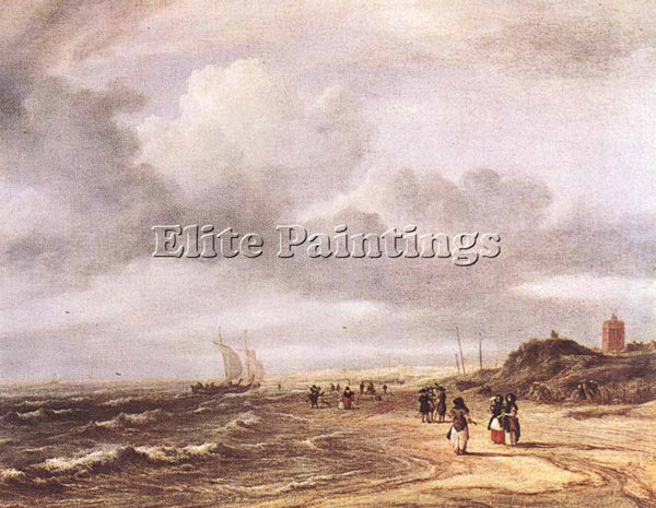 JACOB VAN RUISDAEL THE SHORE AT EGMOND AN ZEE ARTIST PAINTING REPRODUCTION OIL