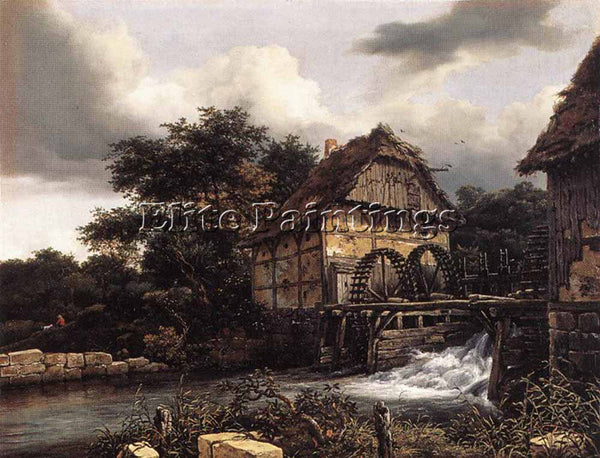 JACOB VAN RUISDAEL TWO WATER MILLS AND OPEN SLUICE ARTIST PAINTING REPRODUCTION