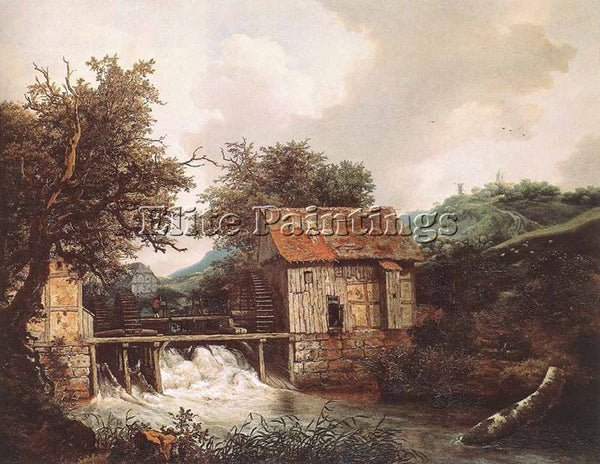 JACOB VAN RUISDAEL TWO WATERMILLS AND AN OPEN SLUICE NEAR SINGRAVEN PAINTING OIL
