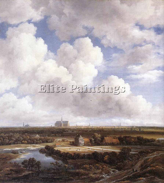 JACOB VAN RUISDAEL VIEW OF HAARLEM WITH BLEACHING GROUNDS ARTIST PAINTING CANVAS