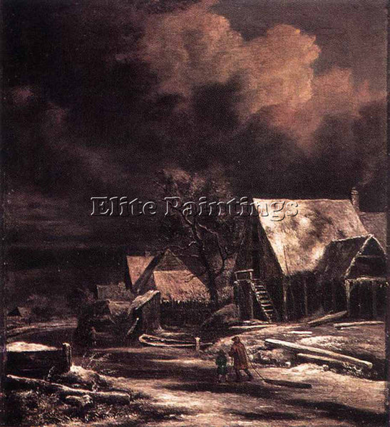 JACOB VAN RUISDAEL VILLAGE AT WINTER AT MOONLIGHT ARTIST PAINTING REPRODUCTION