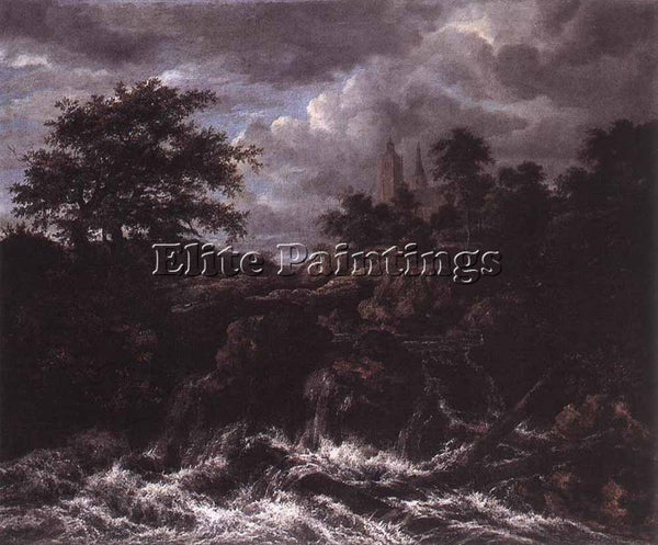 JACOB VAN RUISDAEL WATERFALL BY A CHURCH ARTIST PAINTING REPRODUCTION HANDMADE
