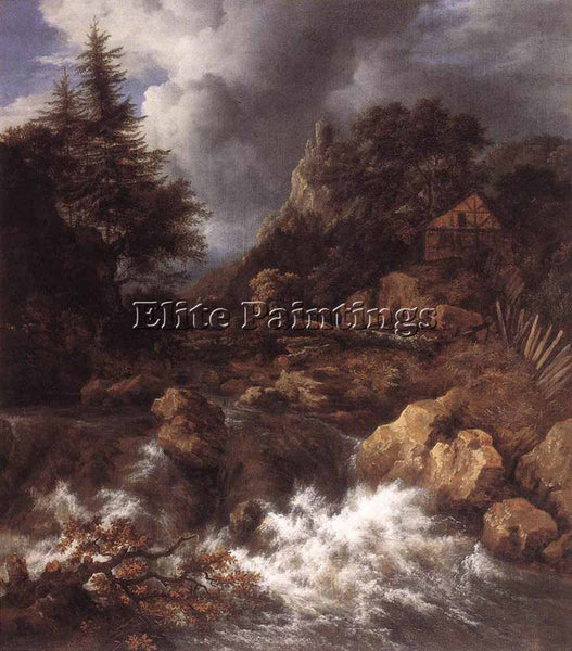 JACOB VAN RUISDAEL WATERFALL IN A MOUNTAINOUS NORTHERN LANDSCAPE ARTIST PAINTING