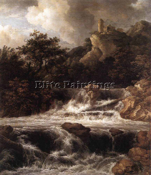 JACOB VAN RUISDAEL WATERFALL WITH CASTLE BUILT ON THE ROCK ARTIST PAINTING REPRO
