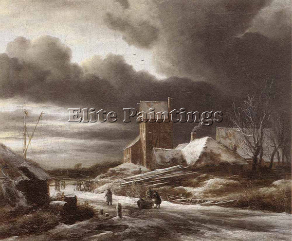 JACOB VAN RUISDAEL WINTER LANDSCAPE ARTIST PAINTING REPRODUCTION HANDMADE OIL