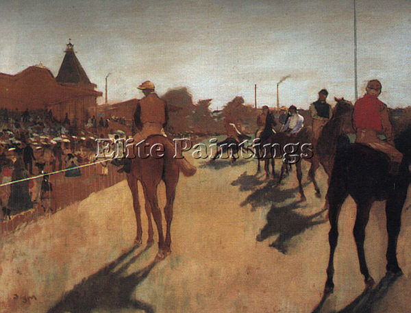 EDGAR DEGAS RACEHORSES IN FRONT OF THE GRANDSTAND ARTIST PAINTING REPRODUCTION