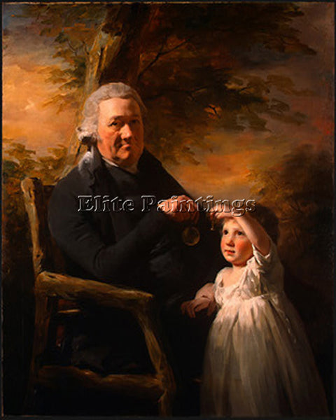 SIR HENRY RAEBURN JOHN TAIT AND HIS GRANDSON ARTIST PAINTING HANDMADE OIL CANVAS