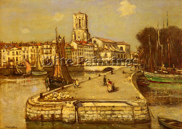 JEAN FRANCOIS RAFFAELLI A SUNLIT PORT ARTIST PAINTING REPRODUCTION HANDMADE OIL