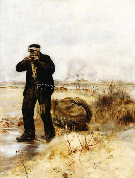 JEAN FRANCOIS RAFFAELLI A RAGMAN LIGHTING HIS PIPE ARTIST PAINTING REPRODUCTION