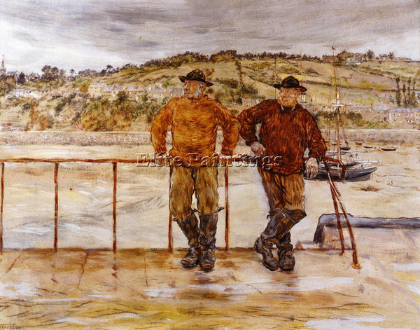 JEAN FRANCOIS RAFFAELLI FISHERMEN AT JERSEY ARTIST PAINTING HANDMADE OIL CANVAS