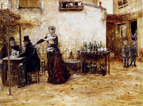 JEAN FRANCOIS RAFFAELLI LES HABIITUES DE CAFE ARTIST PAINTING REPRODUCTION OIL