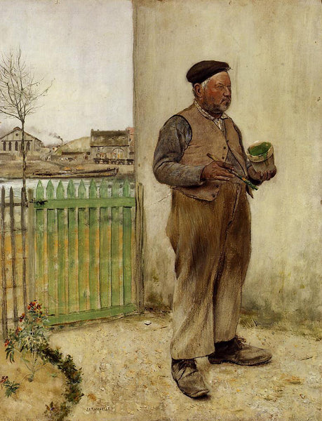 JEAN FRANCOIS RAFFAELLI MAN HAVING JUST PAINTED HIS FENCE ARTIST PAINTING CANVAS