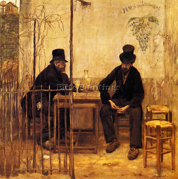 JEAN FRANCOIS RAFFAELLI THE ABSINTHE DRINKERS ARTIST PAINTING REPRODUCTION OIL