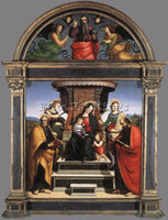 RAFFAELLO RAPHAEL MADONNA AND CHILD ENTHRONED WITH SAINTS ARTIST PAINTING CANVAS