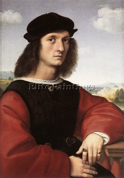RAFFAELLO RAPHAEL PORTRAIT OF AGNOLO DONI ARTIST PAINTING REPRODUCTION HANDMADE