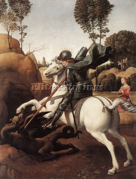 RAFFAELLO RAPHAEL ST GEORGE AND THE DRAGON ARTIST PAINTING REPRODUCTION HANDMADE