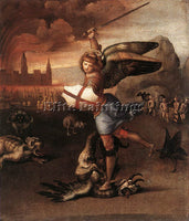 RAFFAELLO RAPHAEL ST MICHAEL AND THE DRAGON ARTIST PAINTING HANDMADE OIL CANVAS