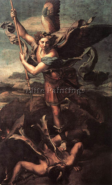 RAFFAELLO RAPHAEL ST MICHAEL AND THE SATAN ARTIST PAINTING REPRODUCTION HANDMADE