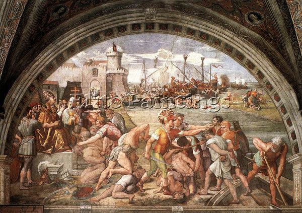 RAFFAELLO RAPHAEL STANZE VATICANE THE BATTLE OF OSTIA ARTIST PAINTING HANDMADE