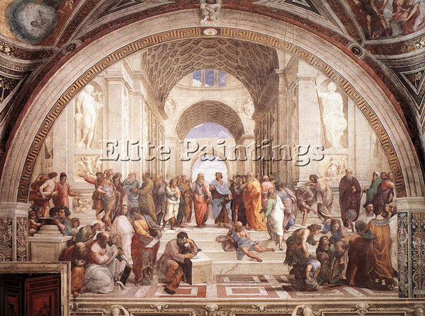 RAFFAELLO RAPHAEL STANZE VATICANE THE SCHOOL OF ATHENS ARTIST PAINTING HANDMADE