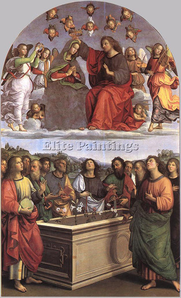 RAFFAELLO RAPHAEL THE CROWNING OF THE VIRGIN ARTIST PAINTING HANDMADE OIL CANVAS
