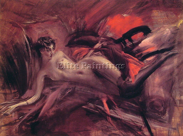 GIOVANNI BOLDINI RECLINING NUDE ARTIST PAINTING REPRODUCTION HANDMADE OIL CANVAS