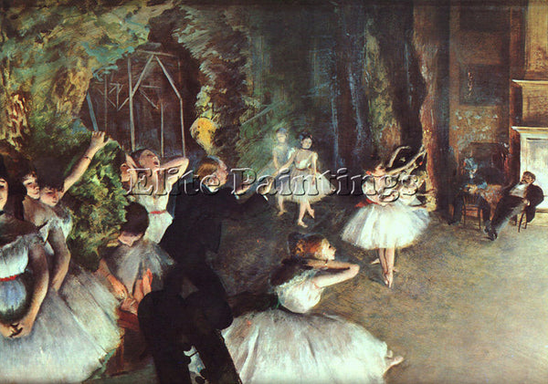 EDGAR DEGAS REHEARSAL ON THE STAGE ARTIST PAINTING REPRODUCTION HANDMADE OIL ART