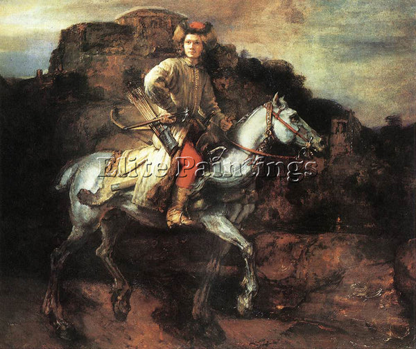 REMBRANDT POLISH RIDER ARTIST PAINTING REPRODUCTION HANDMADE CANVAS REPRO WALL