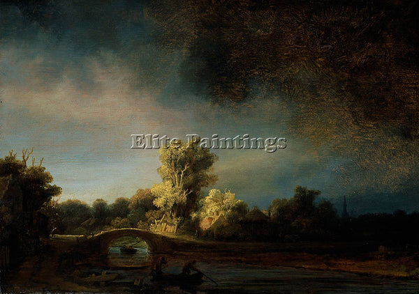 REMBRANDT THE STONE BRIDGE C1638 ARTIST PAINTING REPRODUCTION HANDMADE OIL REPRO