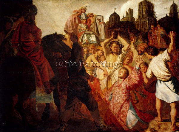 REMBRANDT THE STONING OF ST STEPHEN 1625 ARTIST PAINTING REPRODUCTION HANDMADE