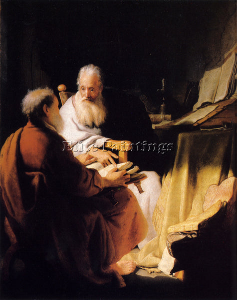 REMBRANDT TWO OLD MEN DISPUTING ARTIST PAINTING REPRODUCTION HANDMADE OIL CANVAS