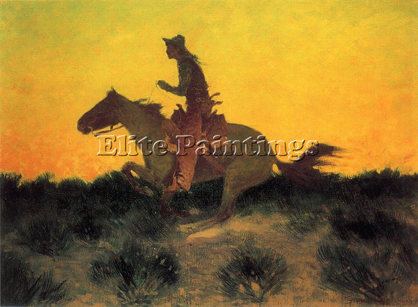 FREDERIC REMINGTON AGAINST THE SUNSET ARTIST PAINTING REPRODUCTION HANDMADE OIL