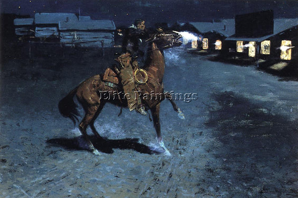 FREDERIC REMINGTON AN ARGUEMENT WITH THE TOWN MARSHALL ARTIST PAINTING HANDMADE