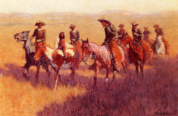 FREDERIC REMINGTON AN ASSAULT ON HIS DIGNITY ARTIST PAINTING HANDMADE OIL CANVAS