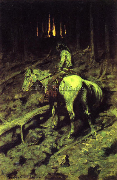 FREDERIC REMINGTON APACHE FIRE SIGNAL ARTIST PAINTING REPRODUCTION HANDMADE OIL